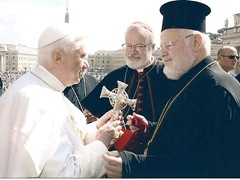 Metropolitan Methodios of Boston presents the Pope with Cross Refinished at Whitman Company